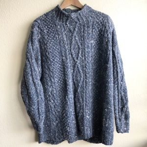 Vintage 80s Blue Handknit Mock Neck Sweater M